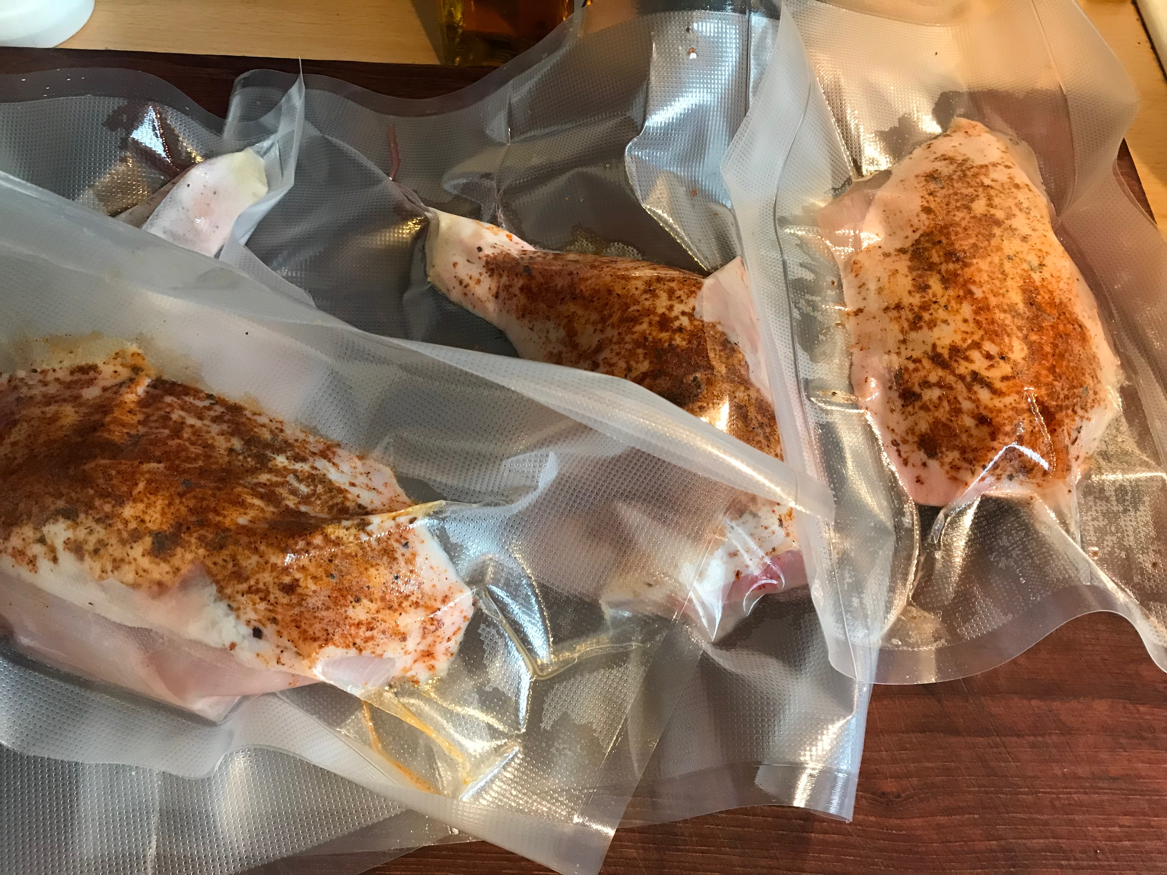 Sous vide vacuum packed chicken pieces